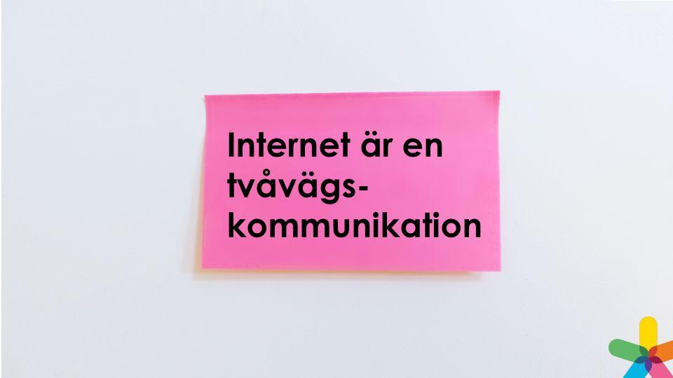 Internet är en tvåvägs- kommunikation