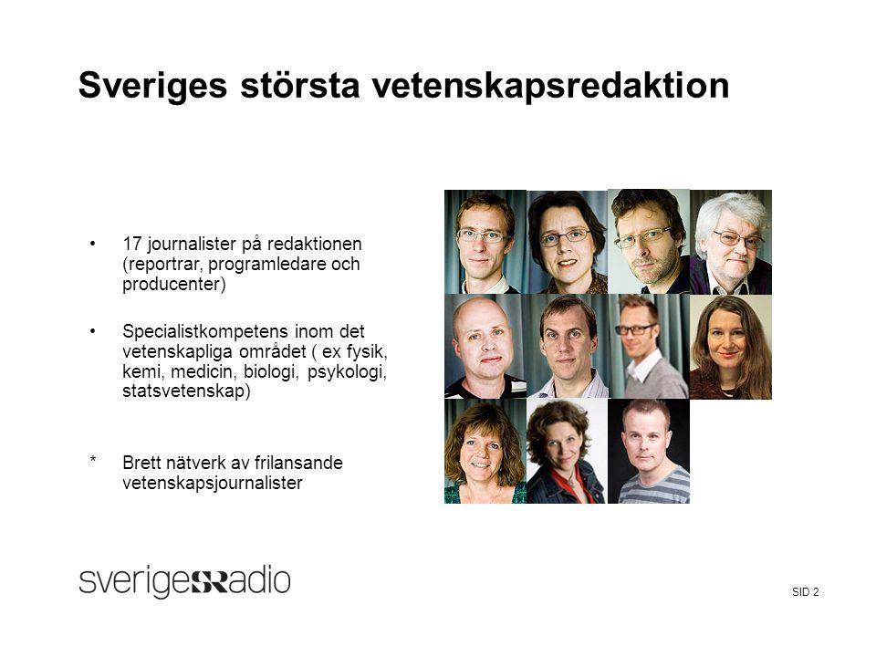 FalseSveriges Radio Sveriges Radios vetenskapsredaktion −Vetenskapsnyheter i P1-morgon varje vardagmorgon −Vetandets värld i P1 varje vardag lunch −Veckomagasinet i P1, fredagar −Forskarliv i P1, lördagar −Klotet i P1, onsdagar −Odla i P1, måndagar −Kossornas planet i P4, lördagar −Vetenskapskommentatorer i Ekots program, talkshows etc −Webbportal – samlar allt om vetenskap på SR sverigesradio.se/vetenskap −Facebook, twitter SID 3