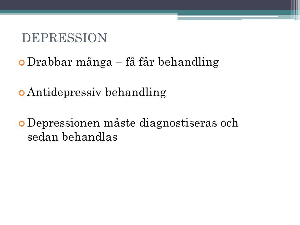 DEPRESSION Drabbar många – få får behandling Antidepressiv behandling Depressionen måste diagnostiseras och sedan behandlas