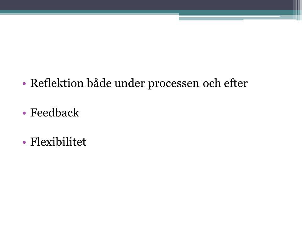 Reflektion både under processen och efter Feedback Flexibilitet