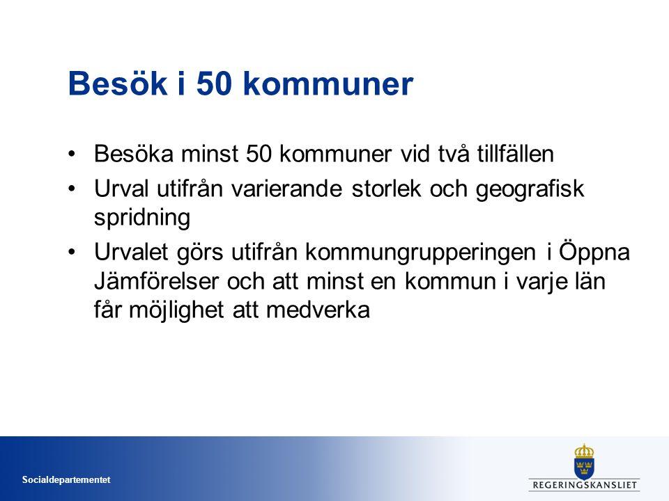Socialdepartementet Besök i 50 kommuner Besöka minst 50 kommuner vid två tillfällen Urval utifrån varierande storlek och geografisk spridning Urvalet