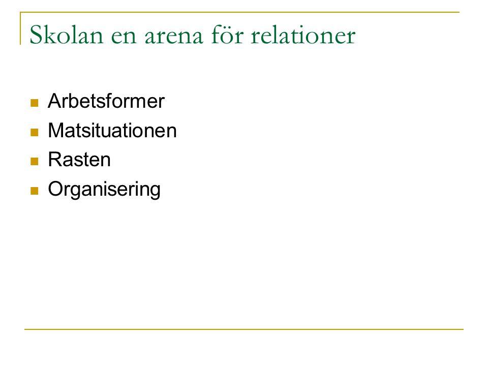 Skolan en arena för relationer Arbetsformer Matsituationen Rasten Organisering