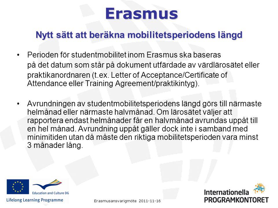 Erasmus Erasmusansvarigmöte 2011-11-16 Nytt sätt att beräkna mobilitetsperiodens längd Perioden för studentmobilitet inom Erasmus ska baseras på det d