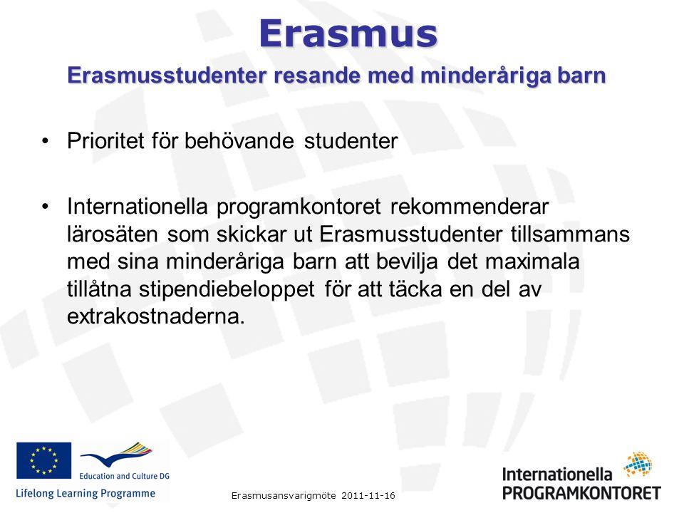 Erasmus Erasmusansvarigmöte 2011-11-16 Erasmusstudenter resande med minderåriga barn Prioritet för behövande studenter Internationella programkontoret