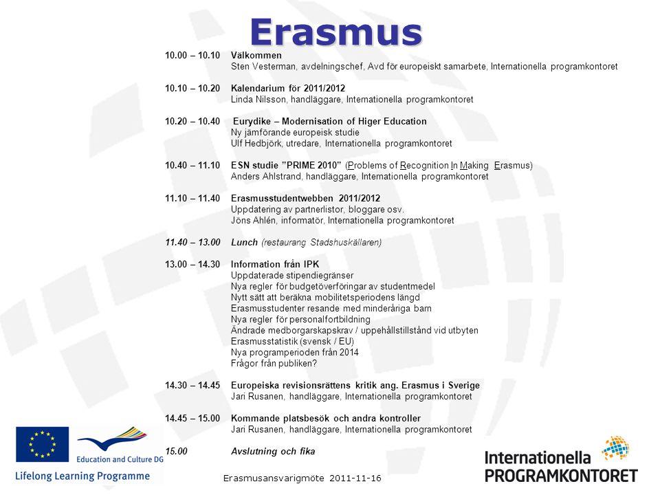 Erasmus Erasmusansvarigmöte 2011-11-16 10.00 – 10.10Välkommen Sten Vesterman, avdelningschef, Avd för europeiskt samarbete, Internationella programkon