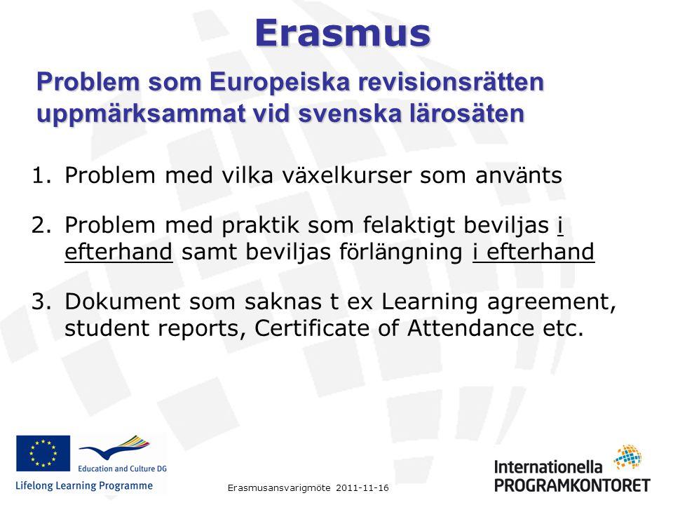 Erasmus 1.Problem med vilka v ä xelkurser som anv ä nts 2.Problem med praktik som felaktigt beviljas i efterhand samt beviljas f ö rl ä ngning i efter