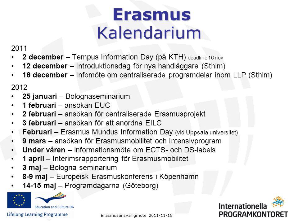 Erasmus Kalendarium 2011 2 december – Tempus Information Day (på KTH) deadline 16 nov 12 december – Introduktionsdag för nya handläggare (Sthlm) 16 de
