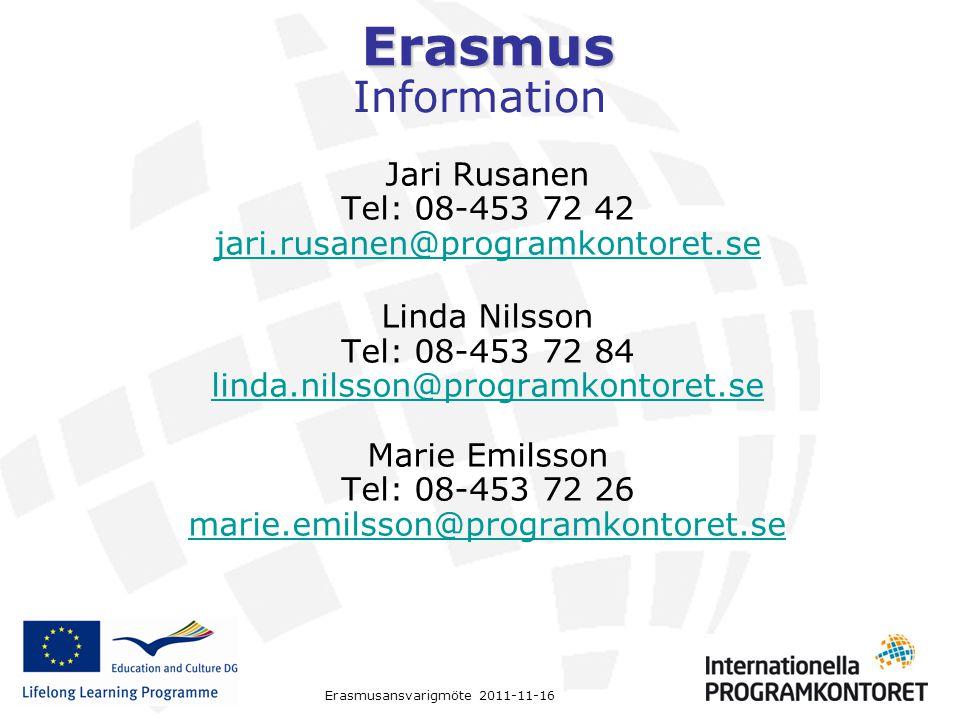 Erasmus Erasmusansvarigmöte 2011-11-16 Information Jari Rusanen Tel: 08-453 72 42 jari.rusanen@programkontoret.se Linda Nilsson Tel: 08-453 72 84 lind
