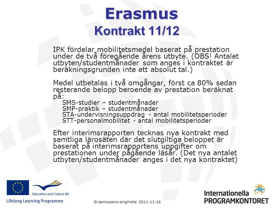 Erasmus Erasmusansvarigmöte 2011-11-16 Kontrakt 11/12 IPK fördelar mobilitetsmedel baserat på prestation under de två föregående årens utbyte. (OBS! A
