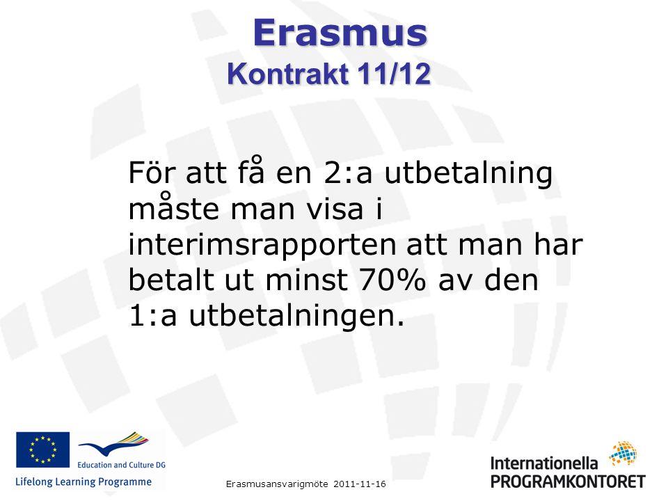 Erasmus Erasmusansvarigmöte 2011-11-16 Kontrakt 11/12 För att få en 2:a utbetalning måste man visa i interimsrapporten att man har betalt ut minst 70%