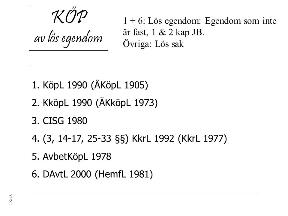 KÖP av lös egendom 1. KöpL 1990 (ÄKöpL 1905) 2. KköpL 1990 (ÄKköpL 1973) 3.