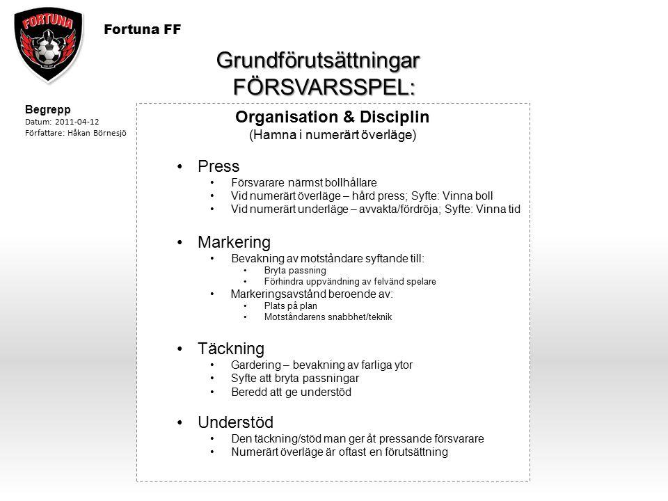 Fortuna FF Grundförutsättningar FÖRSVARSSPEL: FÖRSVARSSPEL: Organisation & Disciplin (Hamna i numerärt överläge) Press Försvarare närmst bollhållare V