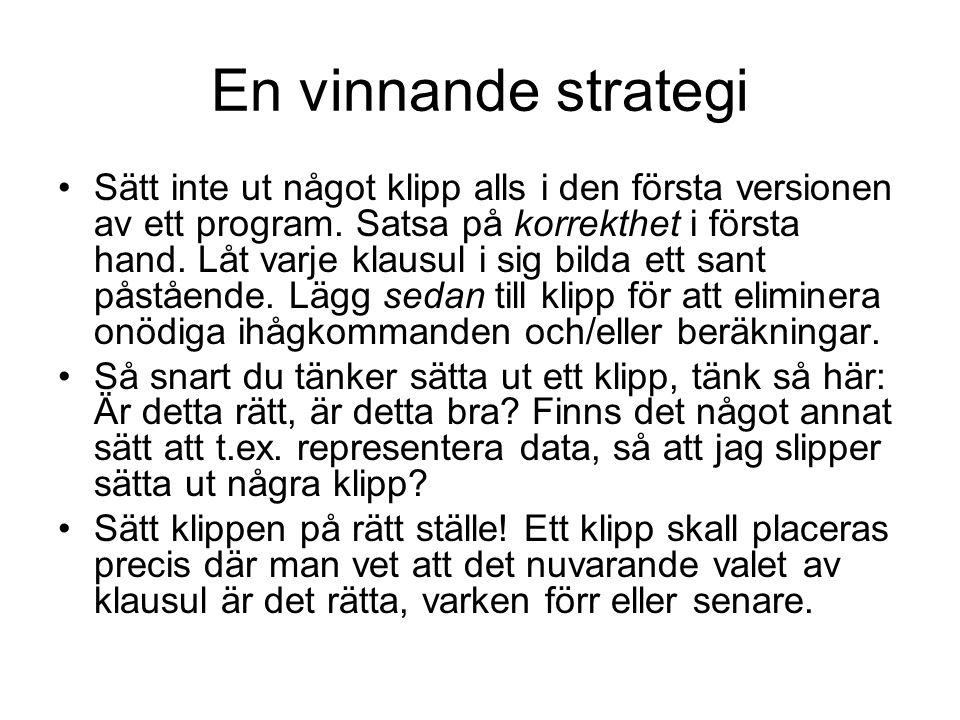 En vinnande strategi Sätt inte ut något klipp alls i den första versionen av ett program.