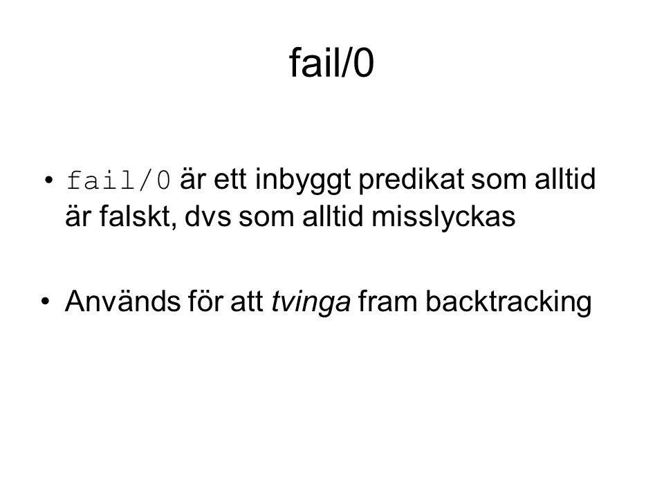 fail/0 fail/0 är ett inbyggt predikat som alltid är falskt, dvs som alltid misslyckas Används för att tvinga fram backtracking