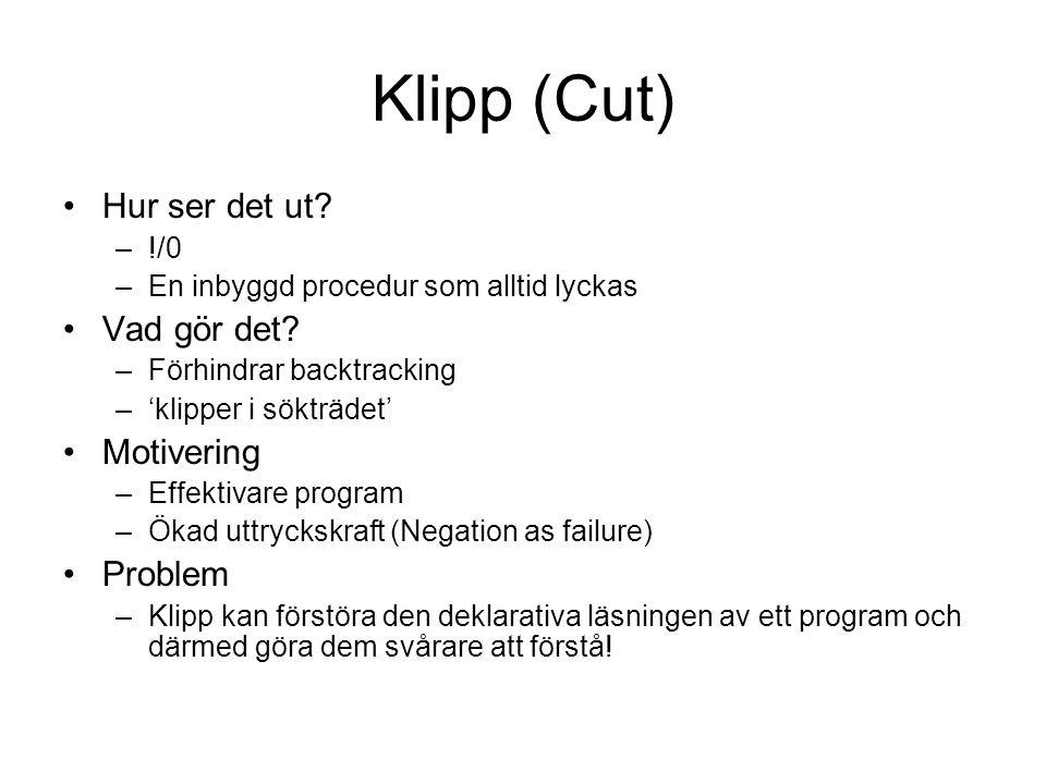 Klipp (Cut) Hur ser det ut. –!/0 –En inbyggd procedur som alltid lyckas Vad gör det.