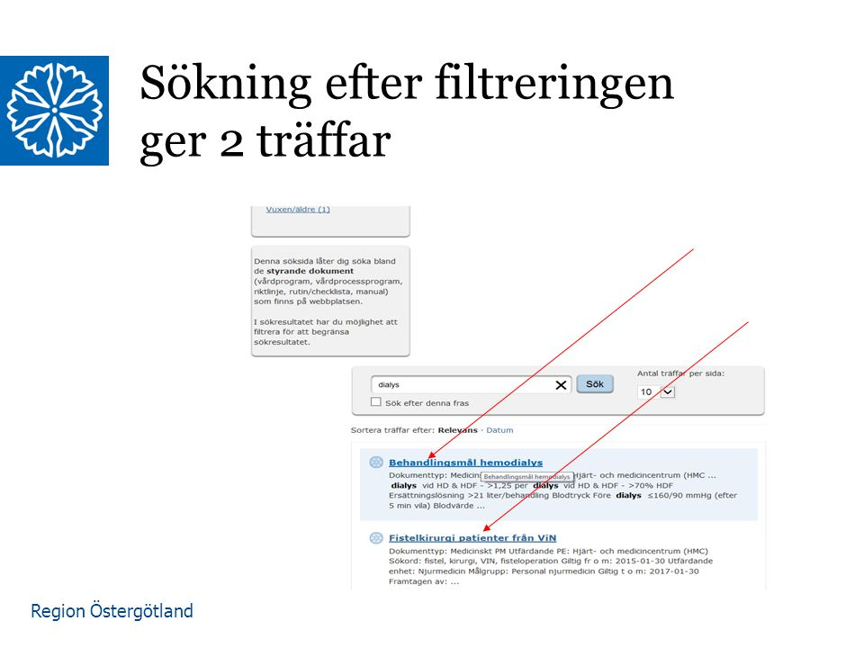 Region Östergötland Sökning efter filtreringen ger 2 träffar