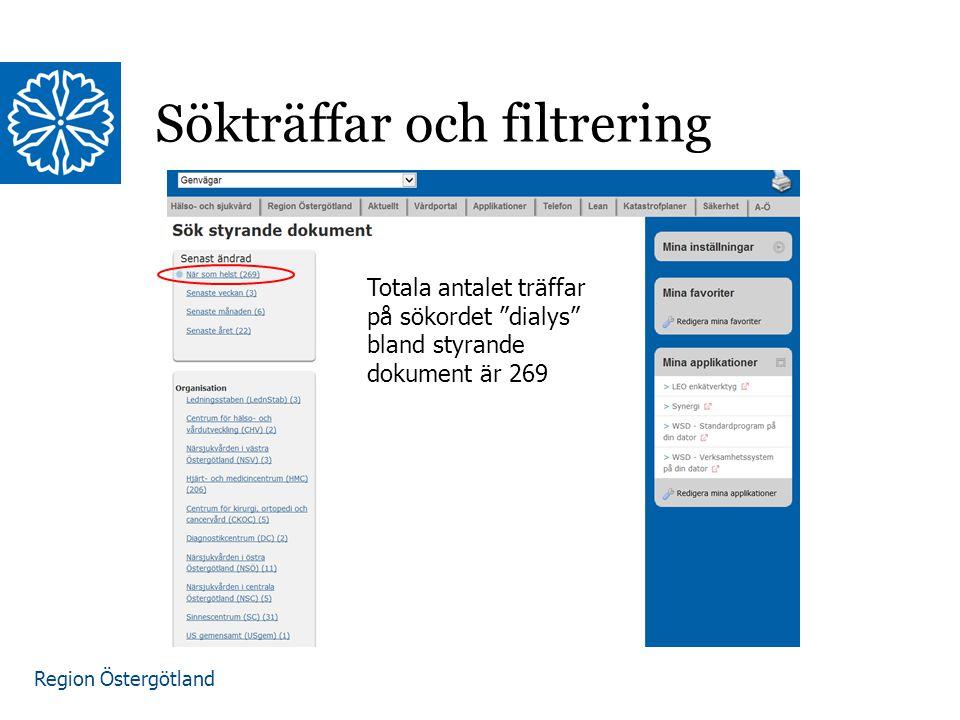 """Region Östergötland Sökträffar och filtrering Totala antalet träffar på sökordet """"dialys"""" bland styrande dokument är 269"""