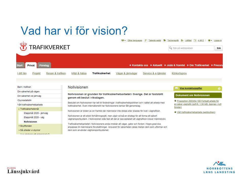 DIVISION Länssjukvård Vad har vi för vision?