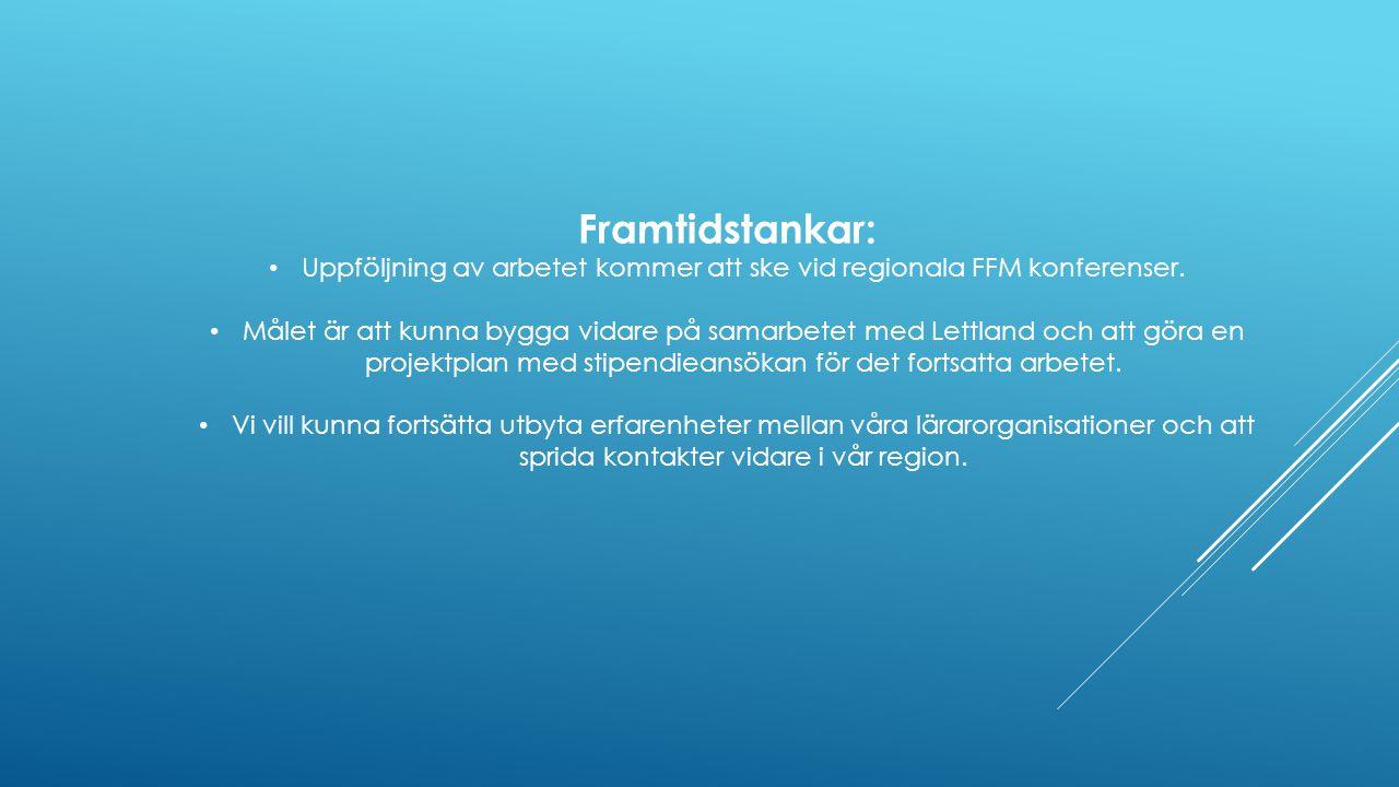 Framtidstankar: Uppföljning av arbetet kommer att ske vid regionala FFM konferenser. Målet är att kunna bygga vidare på samarbetet med Lettland och at