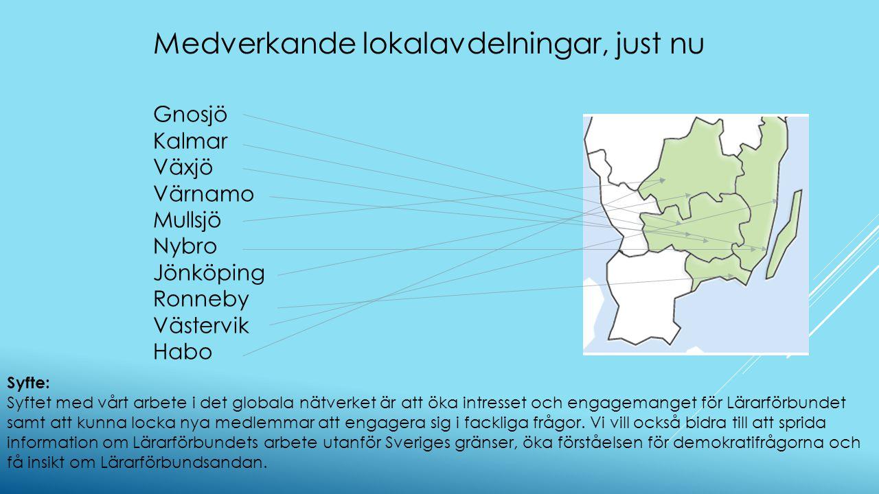 Gnosjö Kalmar Växjö Värnamo Mullsjö Nybro Jönköping Ronneby Västervik Habo Syfte: Syftet med vårt arbete i det globala nätverket är att öka intresset och engagemanget för Lärarförbundet samt att kunna locka nya medlemmar att engagera sig i fackliga frågor.