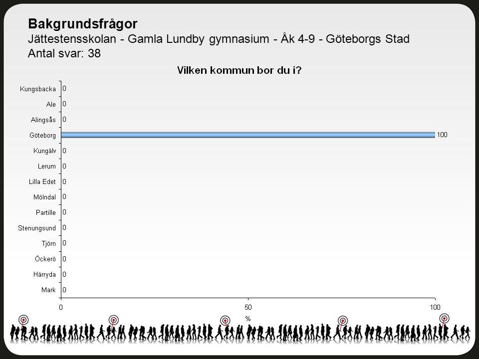 Bakgrundsfrågor Jättestensskolan - Gamla Lundby gymnasium - Åk 4-9 - Göteborgs Stad Antal svar: 38