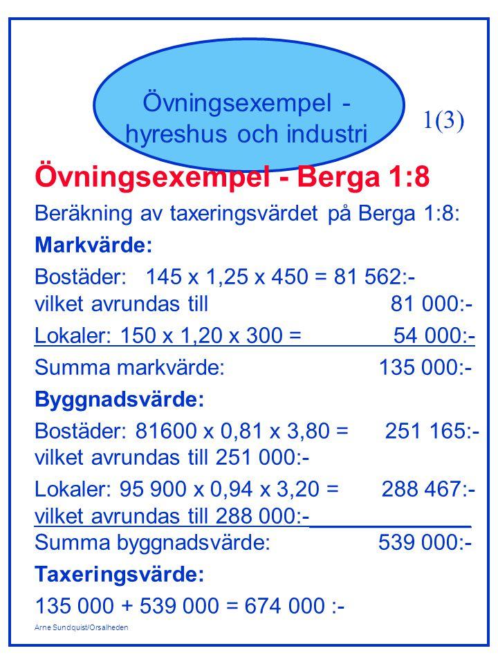 Arne Sundquist/Orsalheden Övningsexempel - hyreshus och industri Övningsexempel - Berga 1:8 Beräkning av taxeringsvärdet på Berga 1:8: Markvärde: Bostäder:145 x 1,25 x 450 = 81 562:- vilket avrundas till 81 000:- Lokaler: 150 x 1,20 x 300 = 54 000:- Summa markvärde: 135 000:- Byggnadsvärde: Bostäder: 81600 x 0,81 x 3,80 = 251 165:- vilket avrundas till 251 000:- Lokaler: 95 900 x 0,94 x 3,20 = 288 467:- vilket avrundas till 288 000:-_____________ Summa byggnadsvärde: 539 000:- Taxeringsvärde: 135 000 + 539 000 = 674 000 :- 1(3)