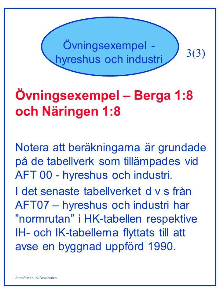 Arne Sundquist/Orsalheden Övningsexempel - hyreshus och industri Övningsexempel – Berga 1:8 och Näringen 1:8 Notera att beräkningarna är grundade på de tabellverk som tillämpades vid AFT 00 - hyreshus och industri.