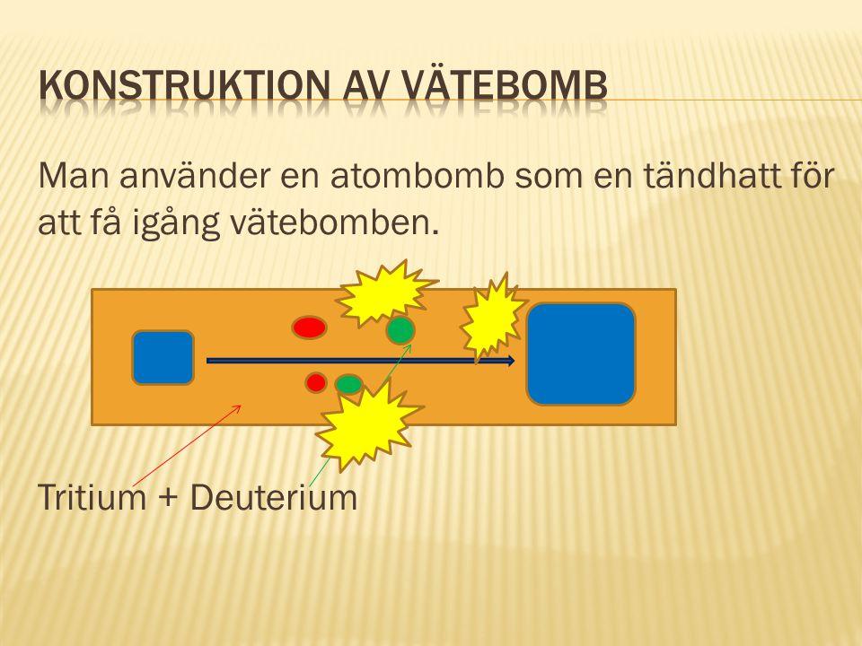 Man använder en atombomb som en tändhatt för att få igång vätebomben. Tritium + Deuterium