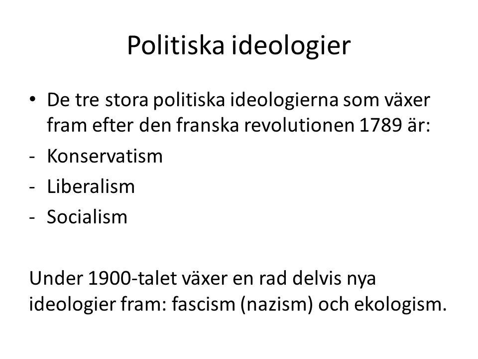 Politiska ideologier De tre stora politiska ideologierna som växer fram efter den franska revolutionen 1789 är: -Konservatism -Liberalism -Socialism U