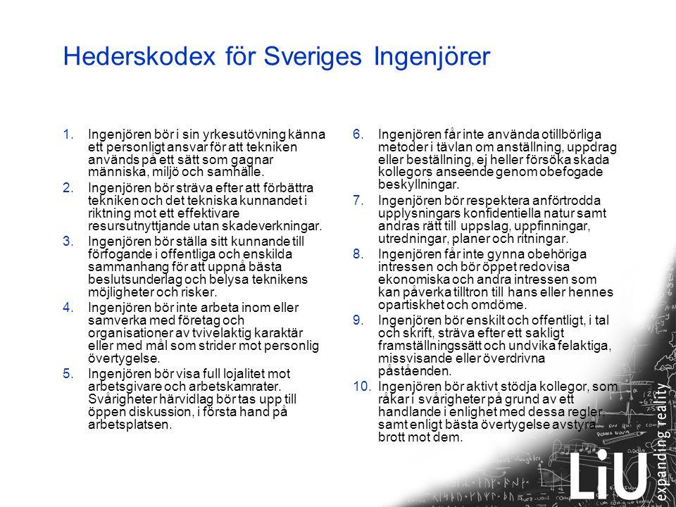 Hederskodex för Sveriges Ingenjörer 1.Ingenjören bör i sin yrkesutövning känna ett personligt ansvar för att tekniken används på ett sätt som gagnar människa, miljö och samhälle.