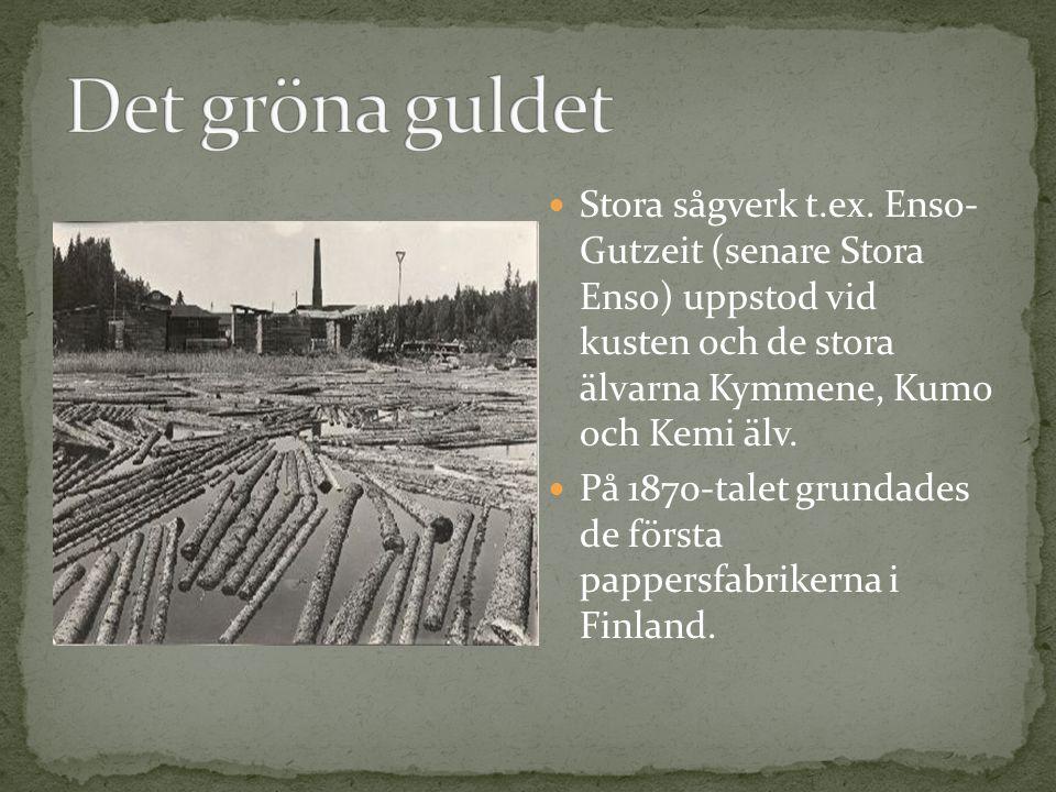 Stora sågverk t.ex. Enso- Gutzeit (senare Stora Enso) uppstod vid kusten och de stora älvarna Kymmene, Kumo och Kemi älv. På 1870-talet grundades de f