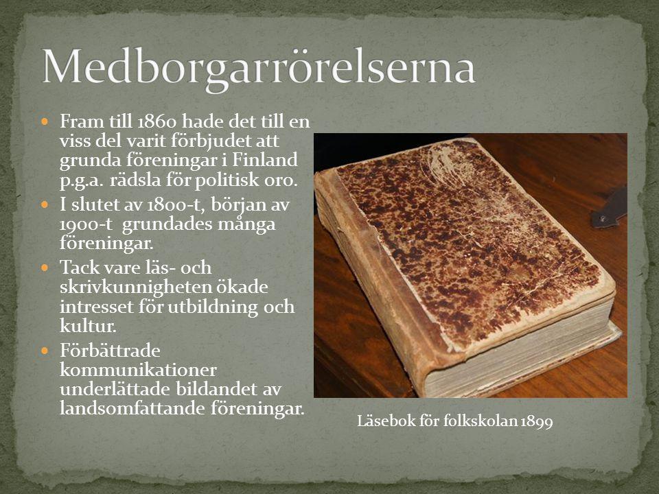 Fram till 1860 hade det till en viss del varit förbjudet att grunda föreningar i Finland p.g.a. rädsla för politisk oro. I slutet av 1800-t, början av