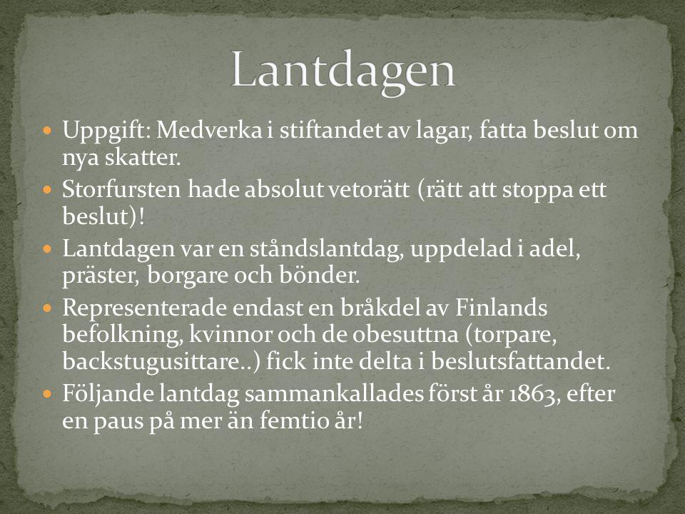 Gustav Mauritz Armfelt Tsaren härskar över ett jätterike, kan sällan besöka Finland.
