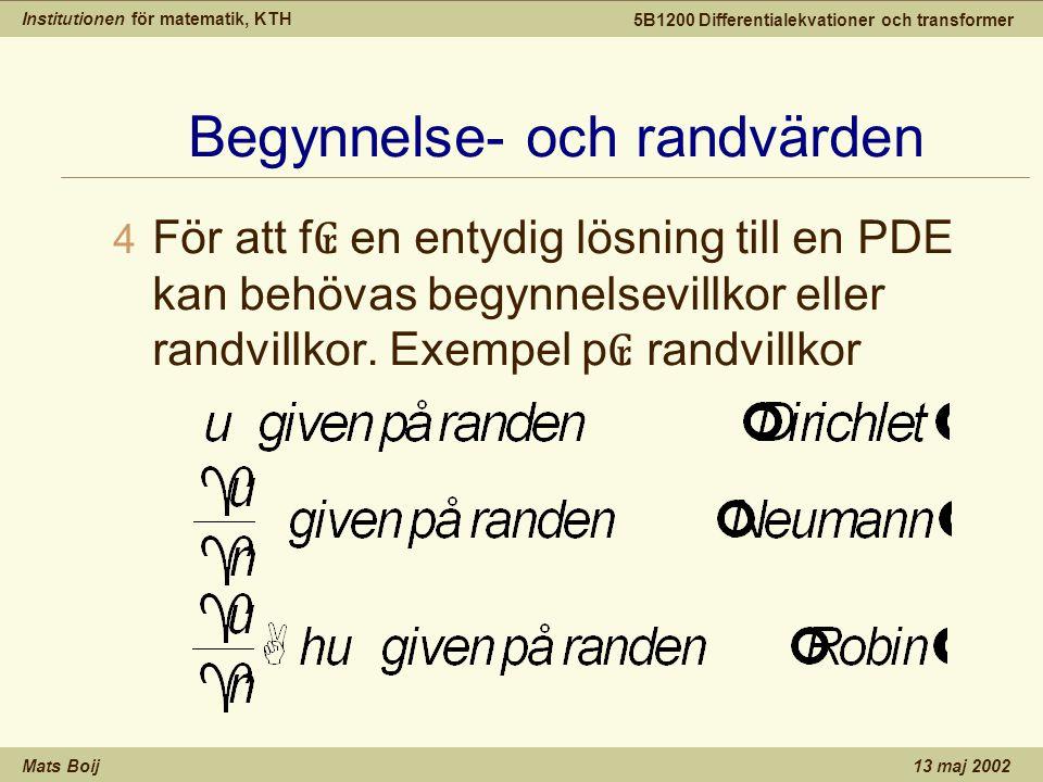 Institutionen för matematik, KTH Mats Boij 5B1200 Differentialekvationer och transformer 13 maj 2002 Begynnelse- och randvärden 4 För att f ₢ en entydig lösning till en PDE kan behövas begynnelsevillkor eller randvillkor.