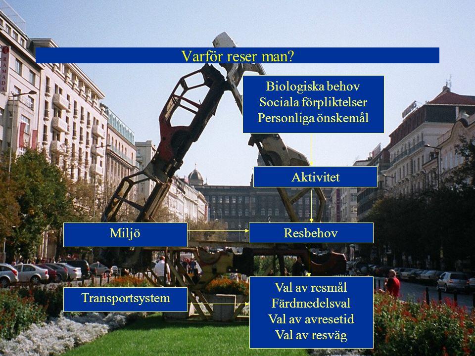 Varför reser man? Aktivitet Resbehov Val av resmål Färdmedelsval Val av avresetid Val av resväg Biologiska behov Sociala förpliktelser Personliga önsk