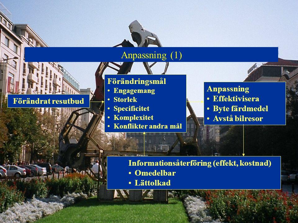 Anpassning (1) Förändrat resutbud Förändringsmål Engagemang Storlek Specificitet Komplexitet Konflikter andra mål Anpassning Effektivisera Byte färdme