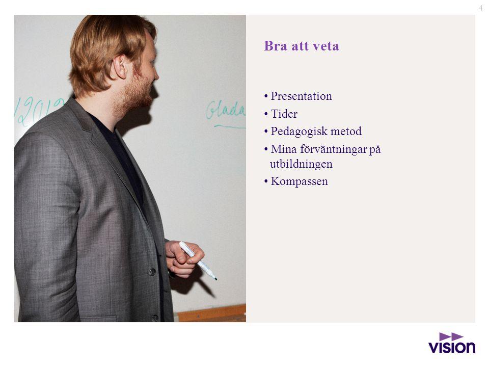 4 Bra att veta Presentation Tider Pedagogisk metod Mina förväntningar på utbildningen Kompassen