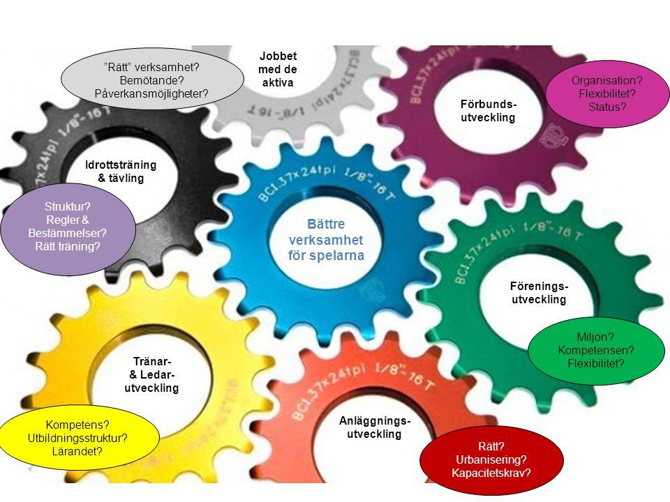 Jobbet med de aktiva Förbunds- utveckling Förenings- utveckling Tränar- & Ledar- utveckling Anläggnings- utveckling Idrottsträning & tävling Organisation.