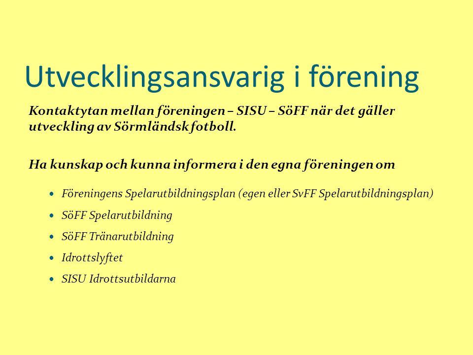 Utvecklingsansvarig i förening Kontaktytan mellan föreningen – SISU – SöFF när det gäller utveckling av Sörmländsk fotboll.