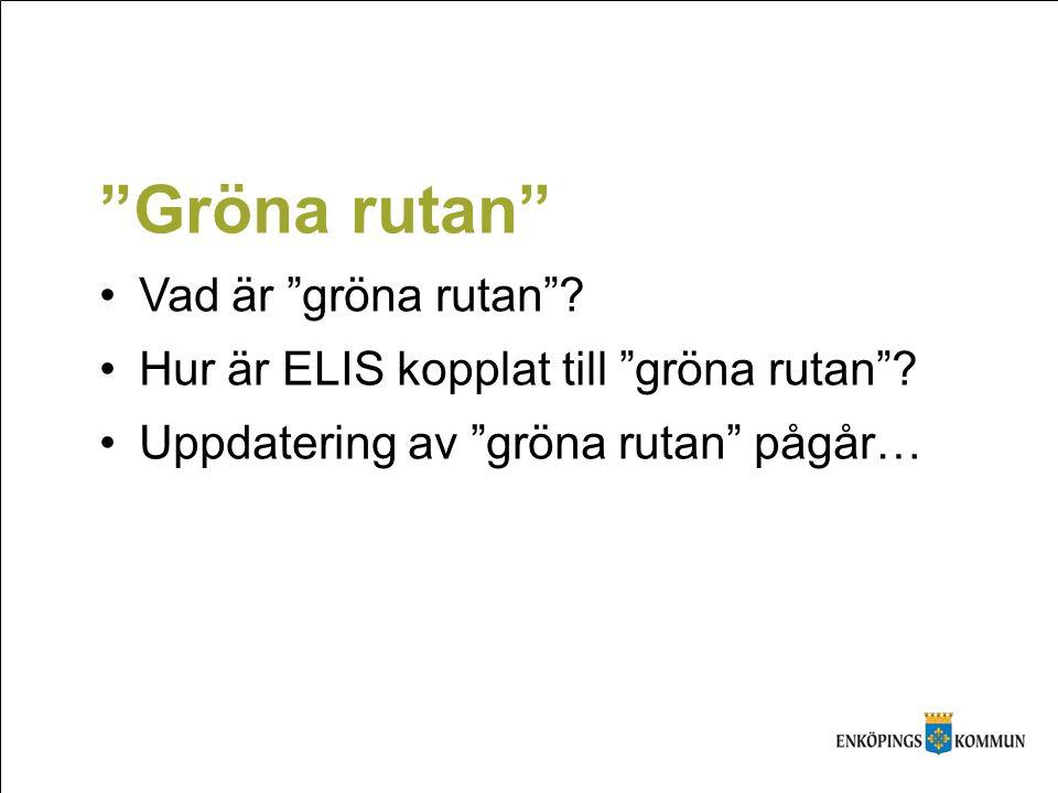 """""""Gröna rutan"""" Vad är """"gröna rutan""""? Hur är ELIS kopplat till """"gröna rutan""""? Uppdatering av """"gröna rutan"""" pågår…"""