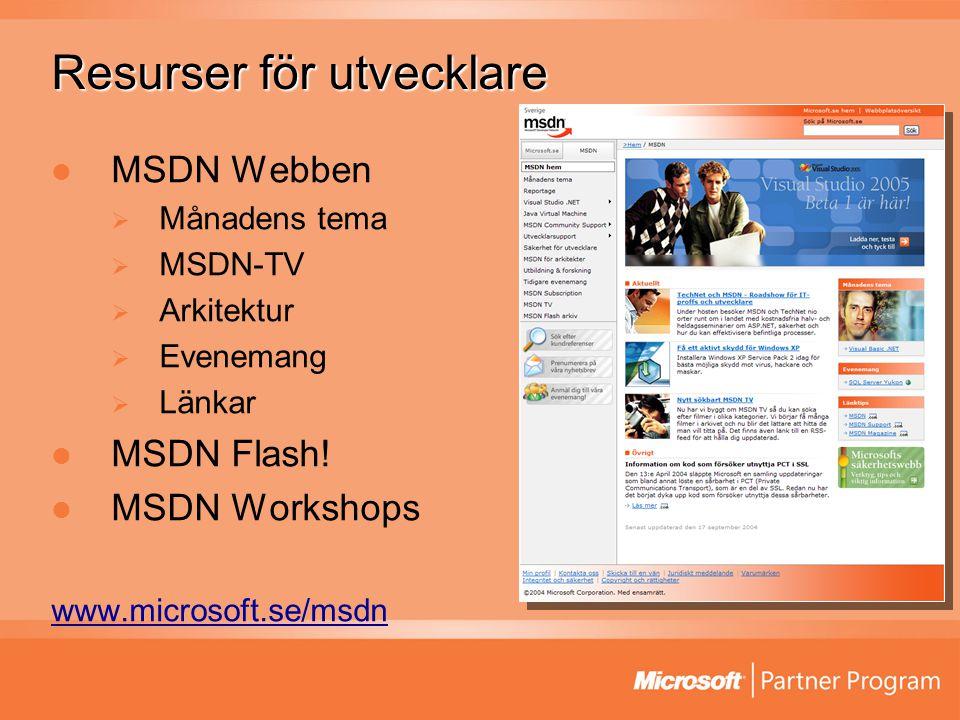 Resurser för utvecklare MSDN Webben  Månadens tema  MSDN-TV  Arkitektur  Evenemang  Länkar MSDN Flash! MSDN Workshops www.microsoft.se/msdn