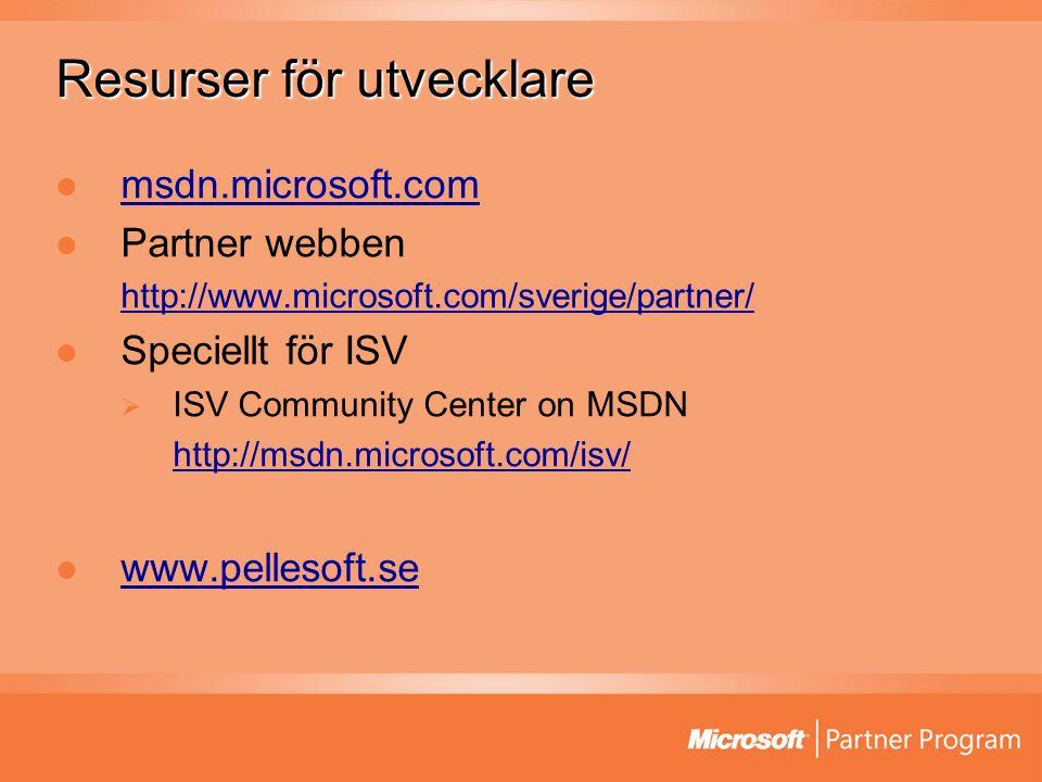 Resurser för utvecklare msdn.microsoft.com Partner webben http://www.microsoft.com/sverige/partner/ Speciellt för ISV  ISV Community Center on MSDN http://msdn.microsoft.com/isv/ www.pellesoft.se