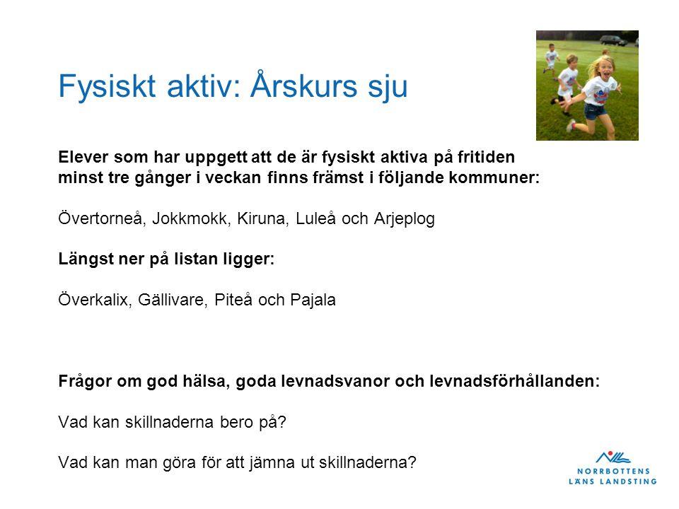 Fysiskt aktiv: Årskurs sju Elever som har uppgett att de är fysiskt aktiva på fritiden minst tre gånger i veckan finns främst i följande kommuner: Övertorneå, Jokkmokk, Kiruna, Luleå och Arjeplog Längst ner på listan ligger: Överkalix, Gällivare, Piteå och Pajala Frågor om god hälsa, goda levnadsvanor och levnadsförhållanden: Vad kan skillnaderna bero på.