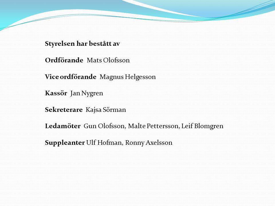 Styrelsen har bestått av Ordförande Mats Olofsson Vice ordförande Magnus Helgesson Kassör Jan Nygren Sekreterare Kajsa Sörman Ledamöter Gun Olofsson, Malte Pettersson, Leif Blomgren Suppleanter Ulf Hofman, Ronny Axelsson
