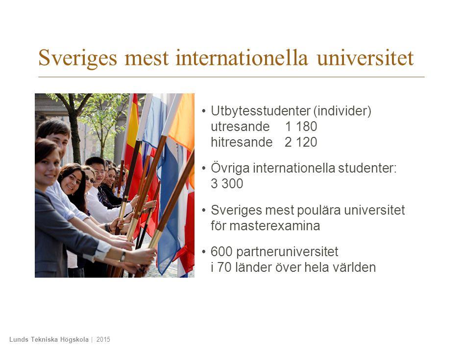 Lunds Tekniska Högskola | 2015 Sveriges mest internationella universitet Utbytesstudenter (individer) utresande1 180 hitresande2 120 Övriga internationella studenter: 3 300 Sveriges mest poulära universitet för masterexamina 600 partneruniversitet i 70 länder över hela världen