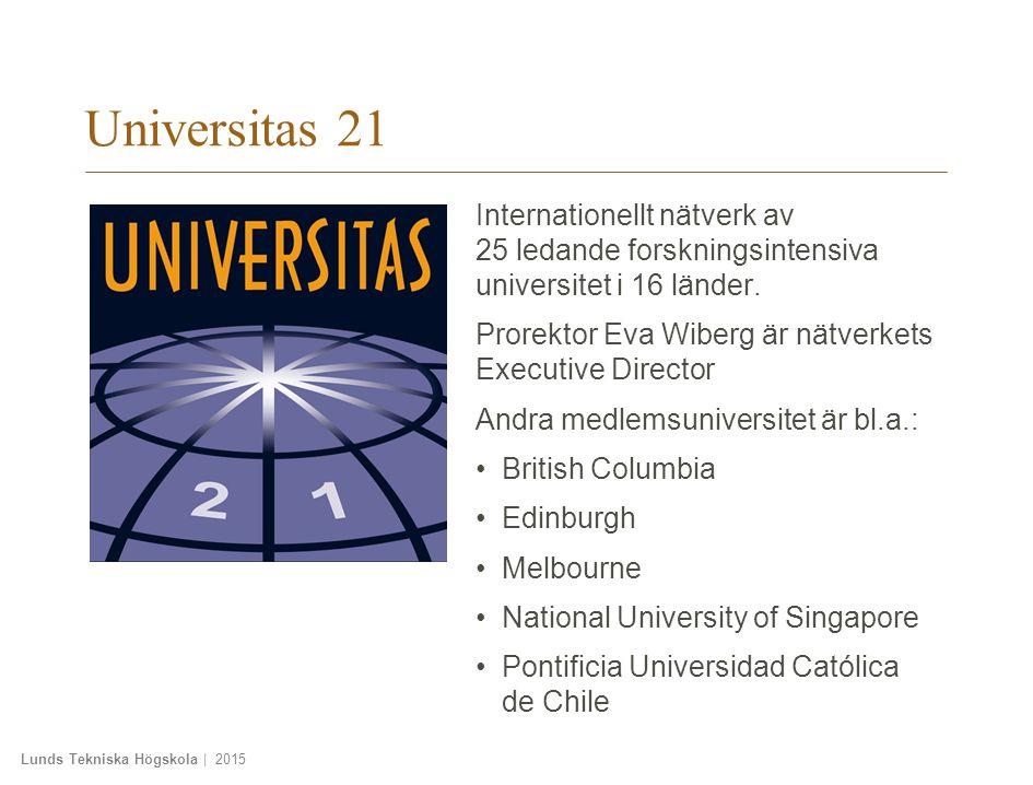 Lunds Tekniska Högskola | 2015 Universitas 21 Internationellt nätverk av 25 ledande forskningsintensiva universitet i 16 länder.