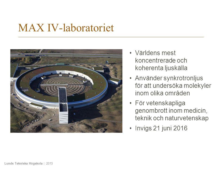 Lunds Tekniska Högskola | 2015 MAX IV-laboratoriet Världens mest koncentrerade och koherenta ljuskälla Använder synkrotronljus för att undersöka molekyler inom olika områden För vetenskapliga genombrott inom medicin, teknik och naturvetenskap Invigs 21 juni 2016