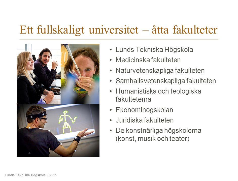 Lunds Tekniska Högskola | 2015 Ett universitet – flera campus Lund – huvudcampus Malmö Konsthögskolan Musikhögskolan Teaterhögskolan Skånes universitetssjukhus Helsingborg Campus Helsingborg Ljungbyhed Trafikflyghögskolan