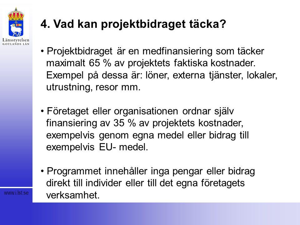 www.i.lst.se 4. Vad kan projektbidraget täcka.