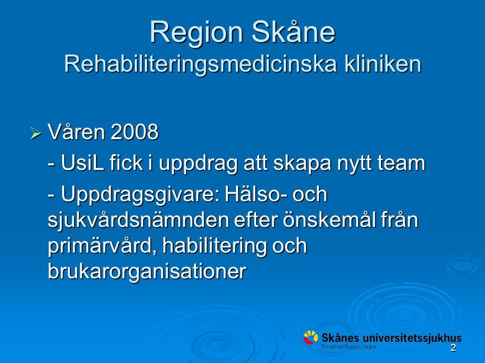 2 Region Skåne Rehabiliteringsmedicinska kliniken  Våren 2008 - UsiL fick i uppdrag att skapa nytt team - Uppdragsgivare: Hälso- och sjukvårdsnämnden efter önskemål från primärvård, habilitering och brukarorganisationer